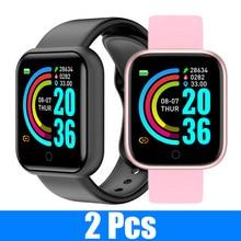 2 sztuk Y68 inteligentny Monitor aktywności fizycznej w zegarku inteligentne zegarki ciśnienia krwi wodoodporny pulsometr bezprzewodowy inteligentny zegarek