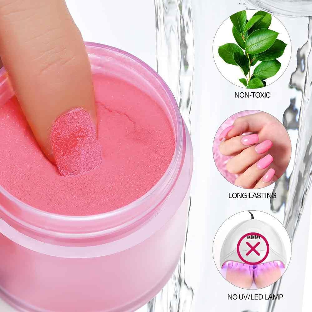 Modelones 6 unids/lote juego de polvo de inmersión para uñas con brillo de uñas en polvo degradado con brillo