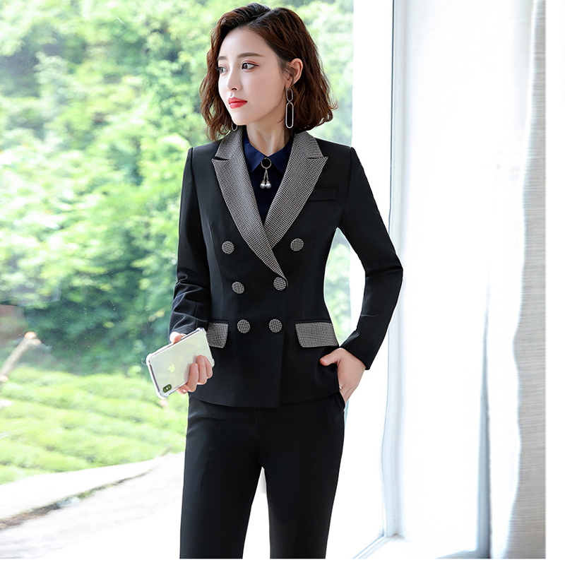 Large Size S-4XL High Quality Women's Plaid Suits Autumn And Winter Slim Full-sleeve Blazer Female Office Long Pants Suits 2019