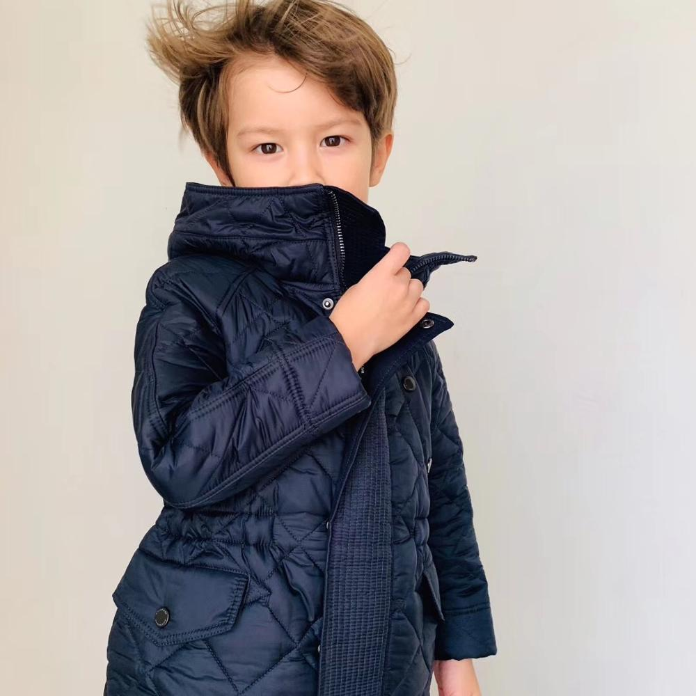 Boys Winter Jacket Cotton Padded Navy Color Boys Outwear Jacket Boutique Kids Clothes