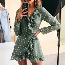 GUMNHU Polka Dot Green Wrap Dress Autumn Winter 2019 Women Long Sleeve Ruffle A Line Short Dresses Casual Streetwear Ladies