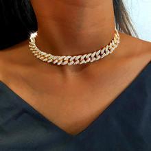 Collier ras du cou en strass glacé pour femmes, 12mm, style Miami cubain, couleur or argent, bijoux Hip hop