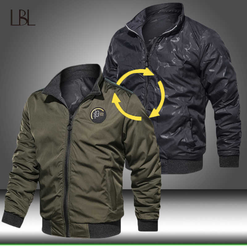 2019 New Men Military Tactical Jacket Mens Army Green Casual Bomber Jackets Male Double-Sided Wear Coat Man Autumn Clothing