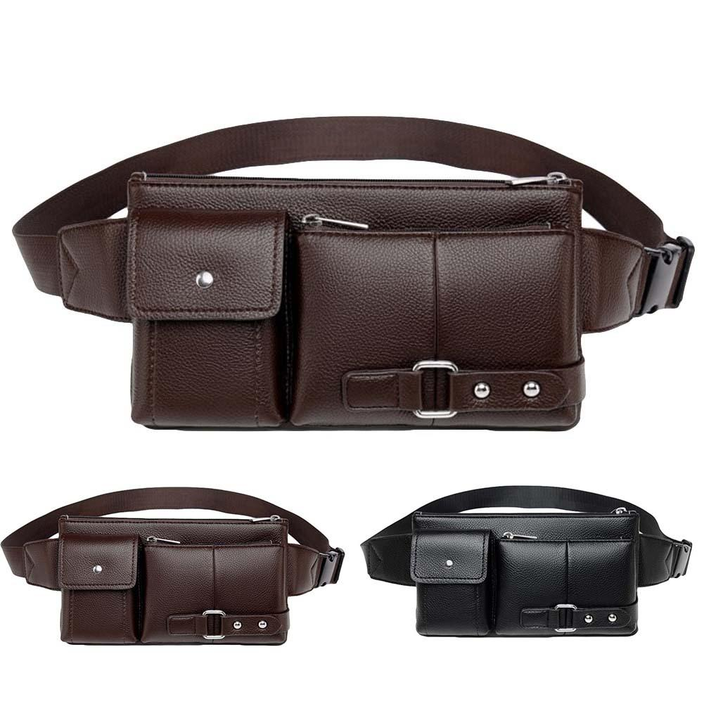 New Hot Style Men Business Solid Color Multi Pockets Faux Leather Waist Chest Bag Purse Hip Pouch Fanny Pack