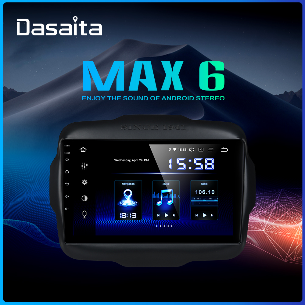 "Dasaita 9"" Android 9.0 Multi Touch Screen Car Radio for Jeep Renegade GPS 2016 2017 HDMI 2.5D IPS Touch Screen TDA7850 BluetoothCar Multimedia Player   -"