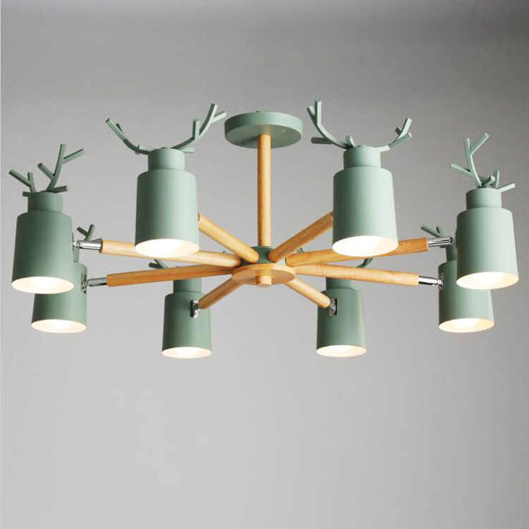 Nordic creative wooden ceiling lamp Simple Living Room Bedroom Restaurant Ceiling Light antler Country Retro Wood Ceiling Lamp