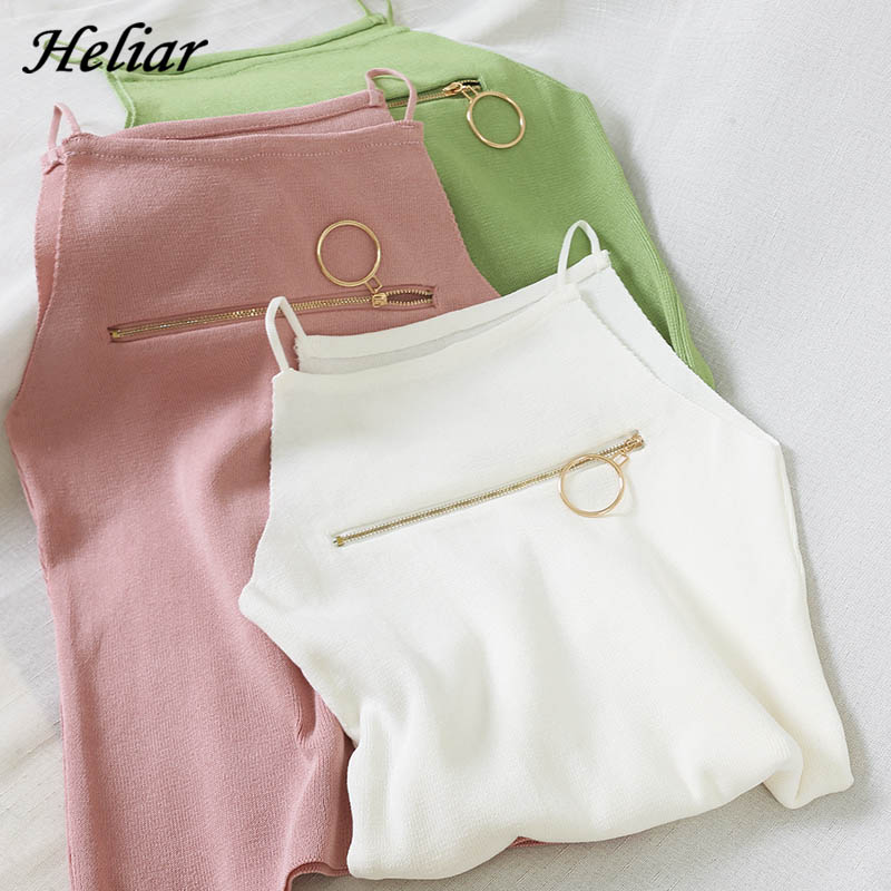 HELIAR 2020 Summer Camisole Female Knitted Solid Zipper Chic Camis Women Street Camisole Ladies Sleeveless Spaghetti Crop Tops