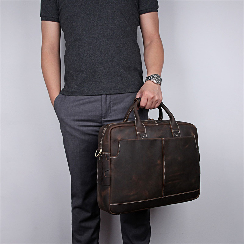 Nesitu Vintage Brown A4 Genuine Crazy Horse Leather 15.6'' Laptop Men Portfolio Office Briefcase Business Messenger Bags M7417