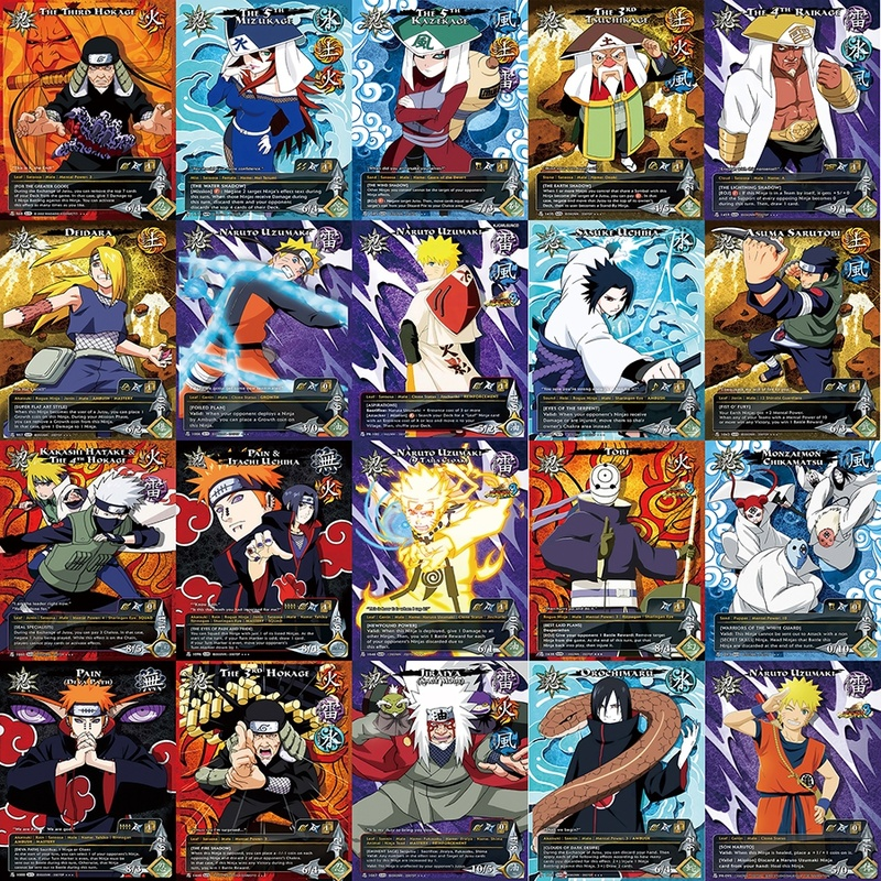 20pcs/set Naruto Uchiha Sasuke Uchiha ObitoJiren Splicing Card Game Action Toy Figures Commemorative Edition Collection Cards