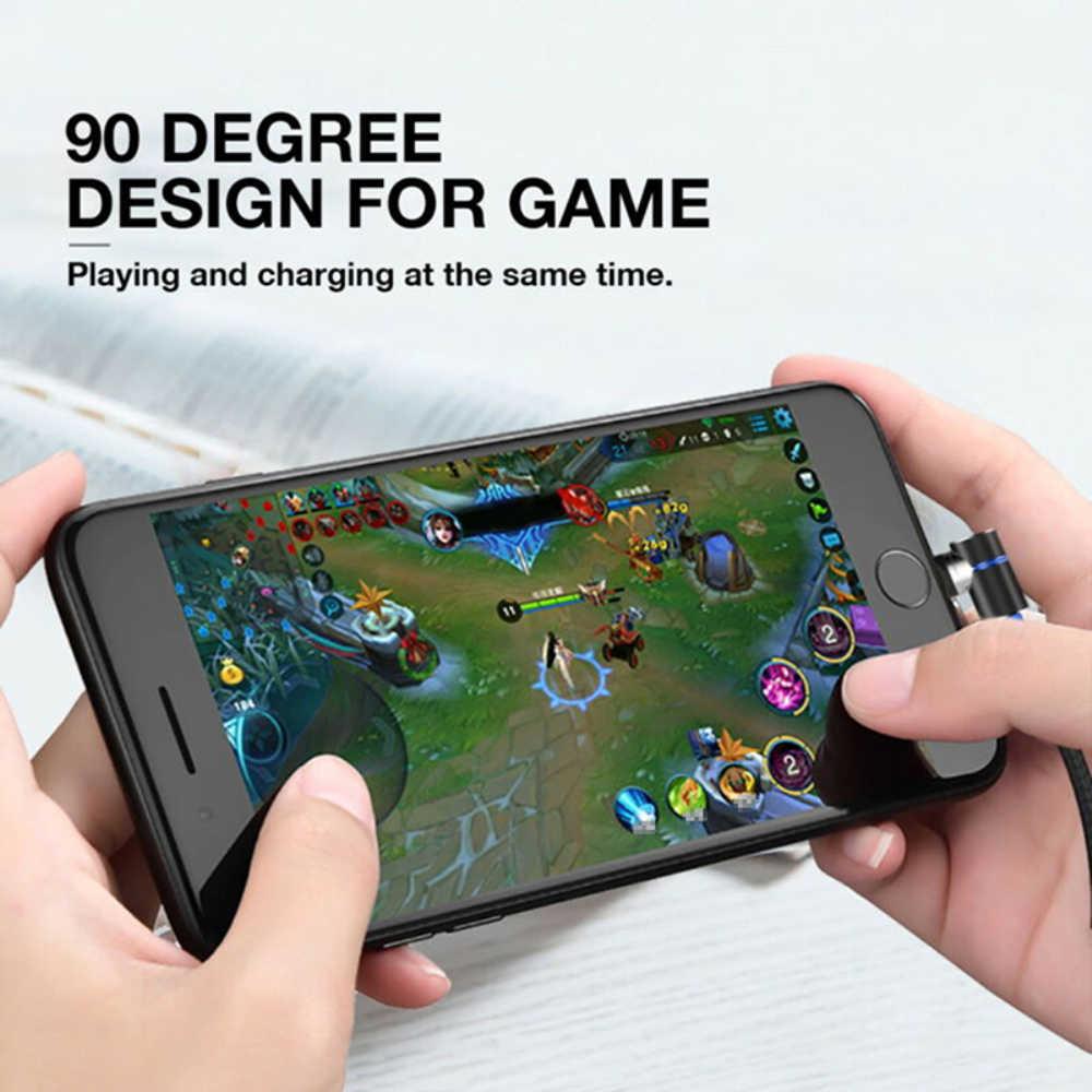 Magnetico Cavo di 90 Gradi L Shape Nylon Intrecciato Cavo del Caricatore & USB Tipo-C USB e Micro Cavo USB per Il IPhone Xs Max Xr X 8 7 6 6s