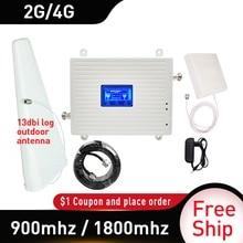 13dbi log antena para exteriores GSM 900mhz UMTS 1800 mhz repetidor de doble banda 2G 3G 4G LTE, amplificador de teléfono móvil
