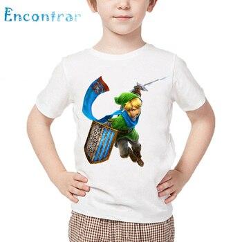 Dzieci legenda ZELDA Triforce drukuj T shirt dzieci lato z krótkim rękawem białe topy chłopcy i dziewczęta Cartoon T-shirt,oHKP425