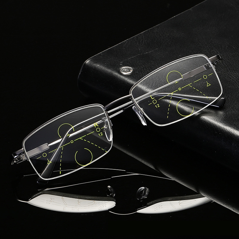 Metal Titanium Multifocal Reading Glasses 2020 Progressive Bifocal Anti Blue Ray UV Protect Presbyopic Half Frame Men Women