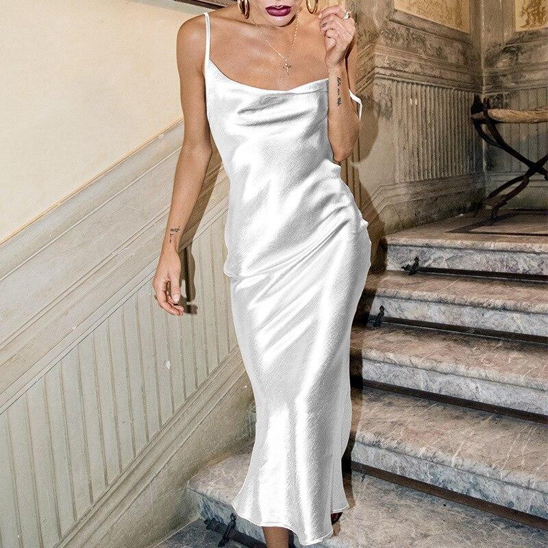 Boho Gold Satin Dress Blue White Backless Party Dress Elegant Midi Dress Spaghetti Strap Casual Dresses Vintage Vestidos