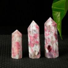 Pilares hexagonales de Piedra Rosa Natural para decoración del hogar, estante nórdico mineral de tres dimensiones, color rosa y blanco, 1 unidad