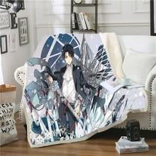 Anime Attack on Titan Levi Sherpa Blanket 3D Warm Boys Fleece Blanket on Bed Customizable Bed Throw Blanket Birthday Gift