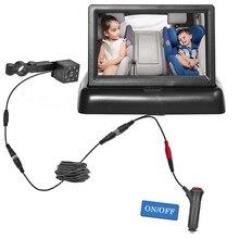 Babi – moniteur de vue arrière de voiture pliable HD, écran LCD TFT de 4.3 pouces avec caméra de recul à Vision nocturne pour véhicule