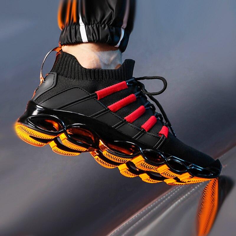 Nova lâmina sapatos moda respirável tênis para homem mais tamanho 46 confortáveis sapatos esportivos masculinos sapatos de corrida sapatos casuais 48 vermelho