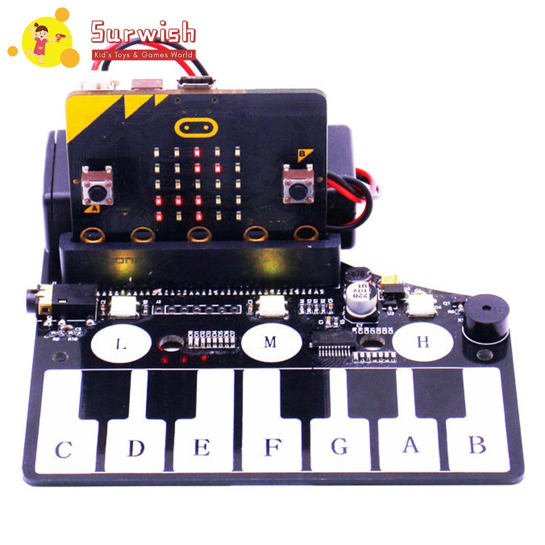 Surwish 1 Pcs Piano Shape Expansion Board Music Development Board With RGB Colored Light Buzzer For Microbit