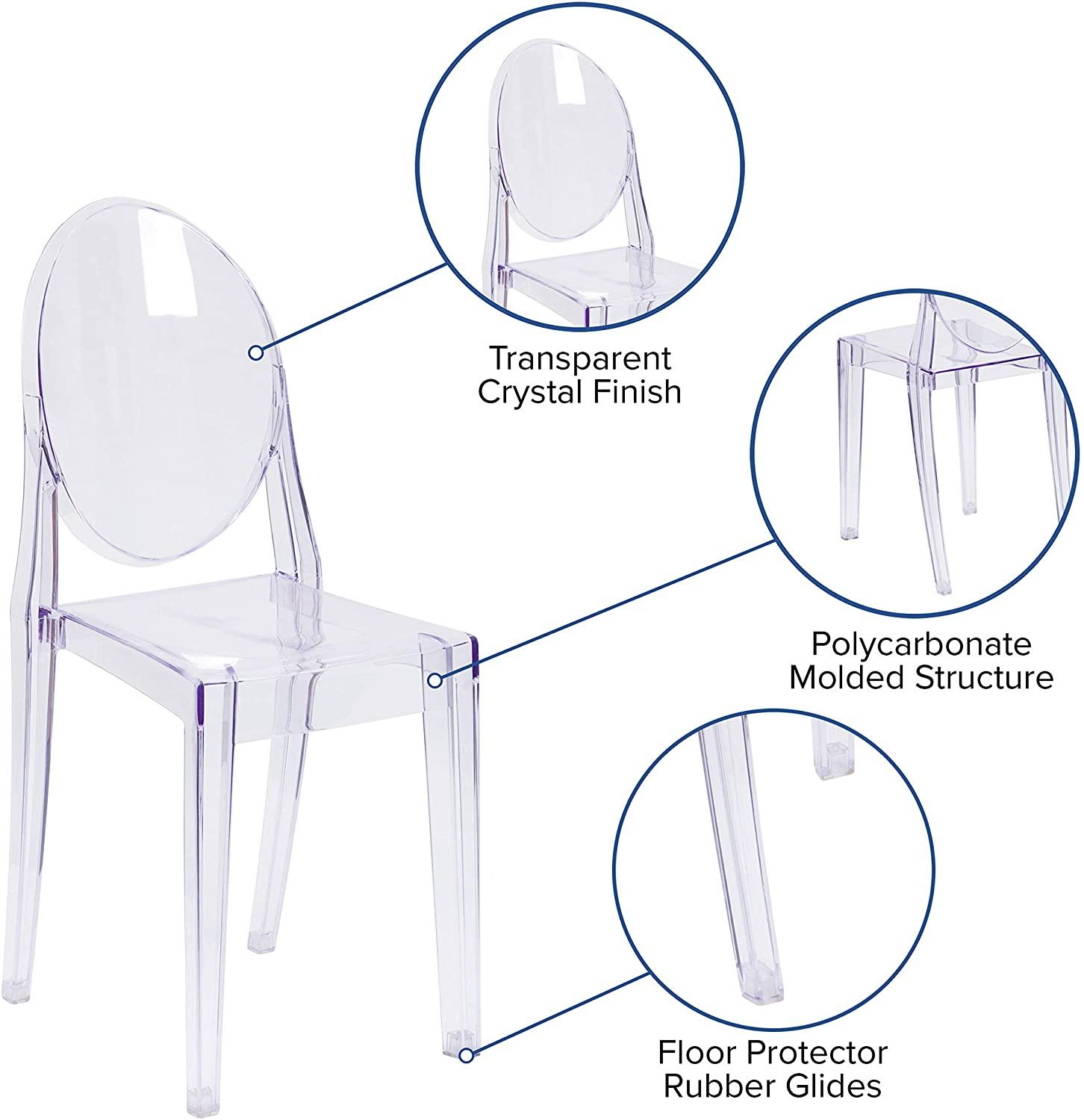 Set of 6 Dining Chairs Transparent Crystal Ghost Chair with Oval Back Modern Makeup Dressing Chair Stackable Garden Chairs Set 2