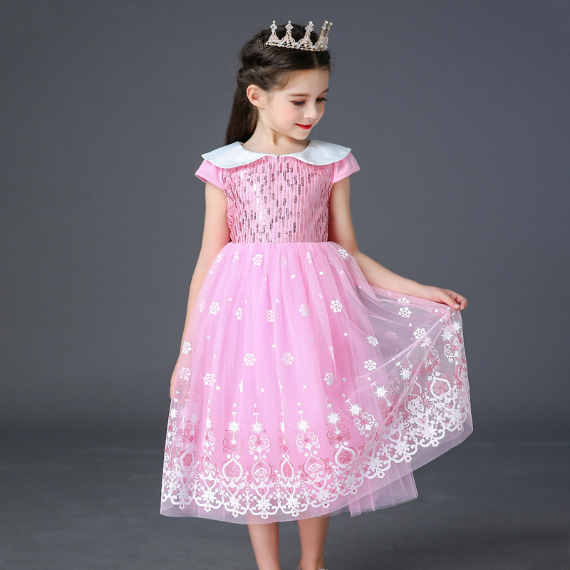 Kids Girls Clothes Baby Girl Elsa 2 Pink Summer Short <font><b>Princess</b></font> Dresses <font><b>Toddler</b></font> Sequins Birthday Cosplay Party Lace Tutu Dress 3 image