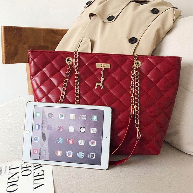Women Handbag PU Leather 2020 Designer Brand Luxury Chain Shoulder Messenge Crossbody bag Large Capacity Office Lady Bag 1