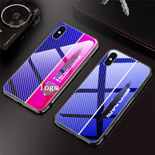 9H Blu-ray tempered glass case for iPhone 7 8 6s phone car LOGO x xs xr max