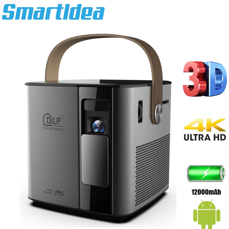 Smartldea P12 4K 3D Mini Proyektor Android Smart Projector Build 12000 MAh 5G Wifi BT4.1 Full HD 1080 P Video Game Beamer