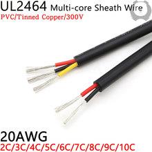1M 20AWG UL2464 drut osłonowy kanał kablowy linia Audio 2 3 4 5 6 7 8 9 10 rdzeni izolowane miękka miedź kabel kontrola sygnału drutu tanie tanio CN (pochodzenie) Miedziane ze skrętek Napowietrzne 300V 80 Deg C 2 3 4 5 6 7 8 9 10C Black Tinned Copper 21*0 16TS