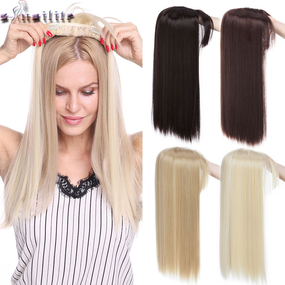 Snoilite 18inch Straight Toupee Hair Synthetic Toupee Hair For Women Bald Women Topper Hairpiece Hair With Natural Hairline