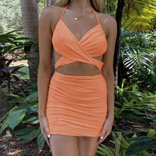 2021 Summer Cross Halter Mini Dress Women Ruched Hollow Out Backless Bodycon Sexy Streetwear Party Club Elegant