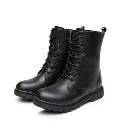 Jesień dzieci buty motocyklowe prawdziwej skóry odkryty połowy łydki buty wojskowe chłopcy dziewczęta buty zimowe pluszowe śniegowce 06A