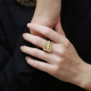 ANENJERY Minimalist Gold Color Wide Surface Adjustable Ring for Women Fashion Jewelry Accessories Wholesale S-R855