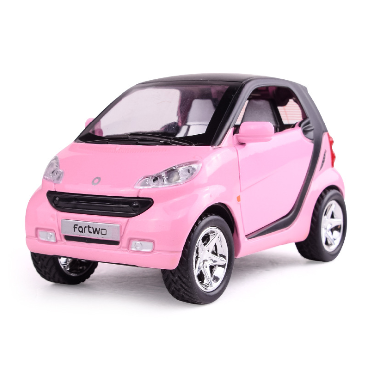 2020 new1:32 type of smart car model with light and music return force alloy door for children pink car