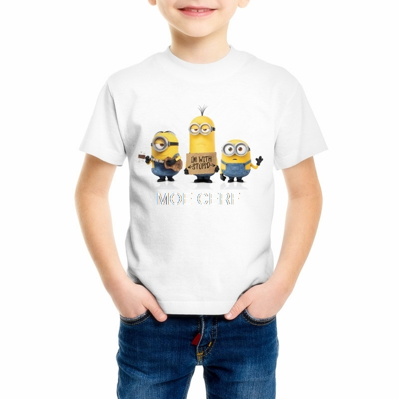 Boys Girls Short Sleeve Despicable Me 2 T shirts For Children Fashion minions Tops Kids Clothing Baby Boys Girls T Shirt C18-34 image