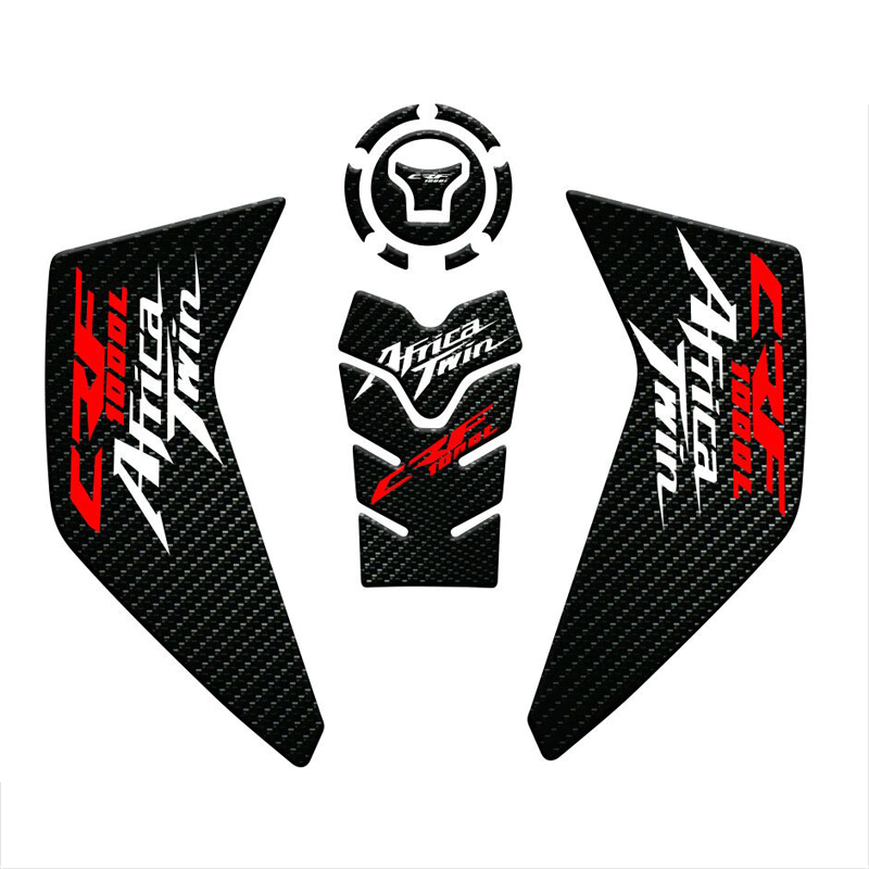 1 SET Fiber Texture Motorcycle Fuel Tank Pad Cap Decals Gas Cap Sticker For For Honda CRF1000L Africa Twin 2016-2019 2018 2017
