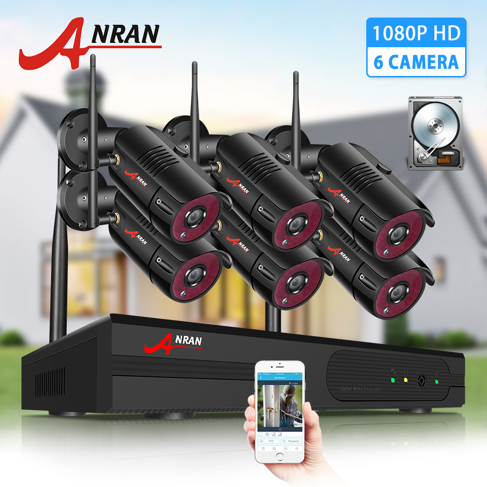 ANRAN 6CH Surveillance System 2MP Wireless Outdoor Camera Kit Security System Video Recorder Waterproof Remote Control NightSurveillance System   -