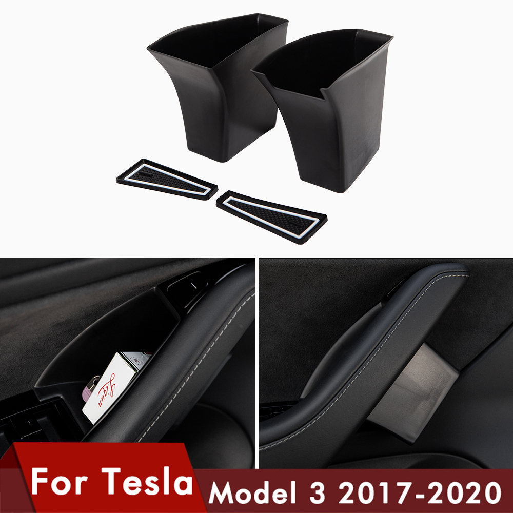 Heenvn Car Door Storage Barrel For Tesla Model 3 Door Handle Container Holder Tray Box Model3 Accessories 2020 For Model Three