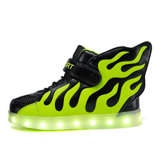 7 Colors Children Sneakers LED Light Shoes usb charging Boys Girls Luminous Led glowing kids shoes with lights wings