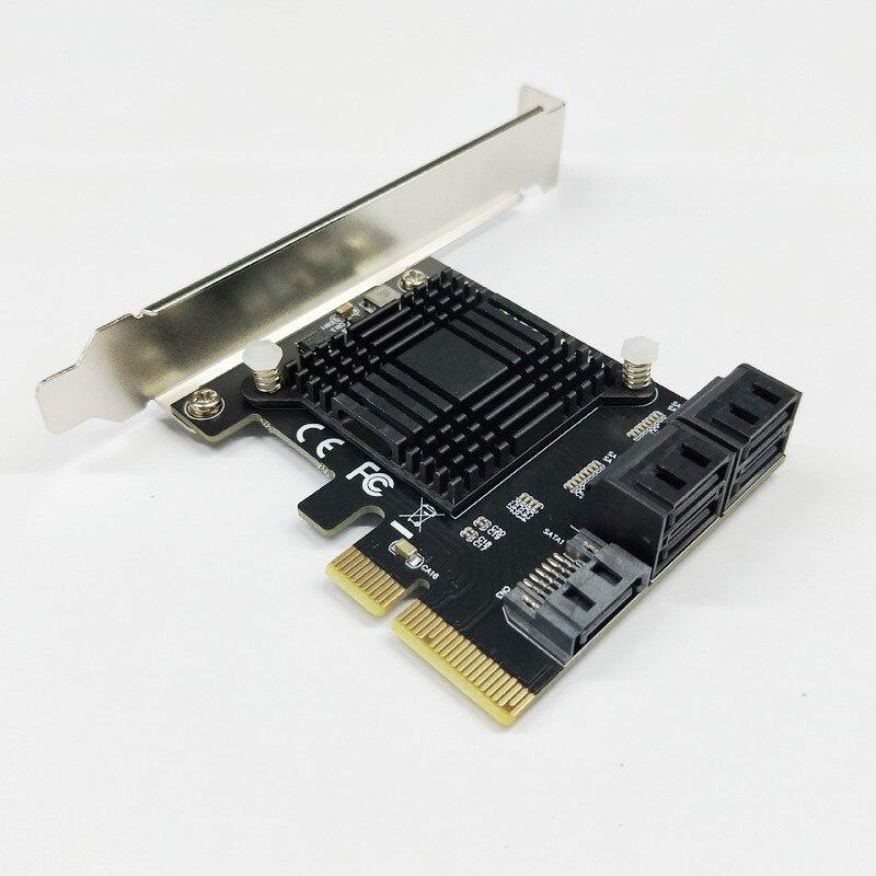 BTBcoin Add On Cards PCIE SATA Controller PCI-E SATA Hub/Card PCIE To SATA 3.0 Card 5-Port SATA3 SSD PCI Express X4 Gen3 Adapter