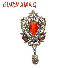 CINDY XIANG 2 Colors Choose Rhinestone Vintage Large Water-drop Brooch Fashion Party Brooches For Women Pin Good Gift New 2020(China)
