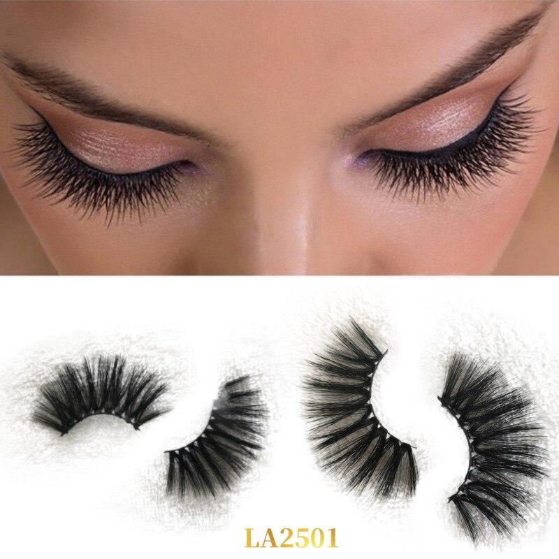 LASHAP 1 Pair 25 mm faux Mink Hair Lashes new 100% Handmade  black cotton stalk 14 Styles Eyelashes Soft Reusable Popular