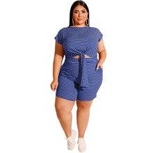Outfits Short-Set Two-Piece-Sets Plus-Size Women And Summer 4XL XXXXXL 5XL Top Striped