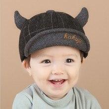 Детские осенние и зимние милые толстые теплые шапки с мягкими полями, шапочки для мальчиков с рогом, модные повседневные регулируемые шапки