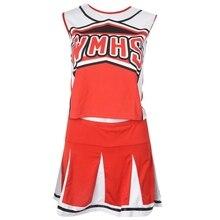 Топ на бретелях, юбка с помпонами и помпонами, костюм черлидер cheer leaders L(38-40), комплект из 2 предметов, красный костюм