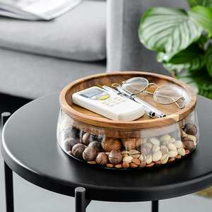 Container Storage-Box Glass-Nuts Wooden-Lid Kitchen-Supply Candy Dry Fruits Double-Layer