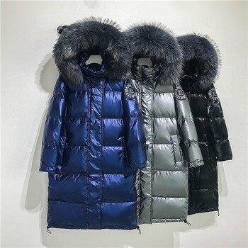 Big Real Raccoon Fur Collar 2019 Hooded Winter Jacket Women Long  White Duck Down Parkas Coat Female Loose Thick Warm Outwear 6