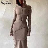 Женское платье макси Hugcitar, с длинным рукавом, с капюшоном, в стиле пэчворк, на осень и зиму, Повседневная Уличная одежда, 2020