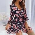 Biggorange 2021 Новое летнее сексуальное платье с v-образным воротом, с принтом и рукавами-фонариками гофрированное платье женский тренд Макси жен...