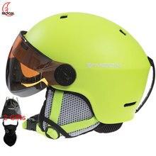MOON лыжный шлем цельный из поликарбоната+ EPS высококачественные очки лыжный шлем Открытый Взрослый Спорт Лыжный Сноуборд шлемы для скейтборда
